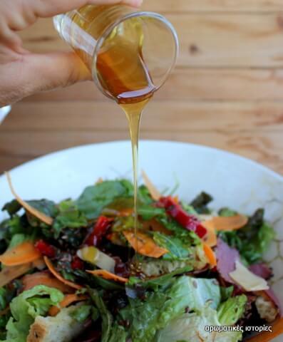 Πράσινη σαλάτα με παστράμι & μέλι